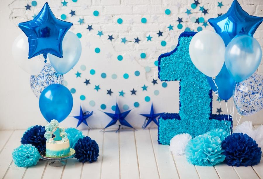 2019 Laeacco Baby Boy 1st Birthday Balloons Flowers Cake Photography Background Customized Photographic Backdrops For Photo Studio From Allrightt