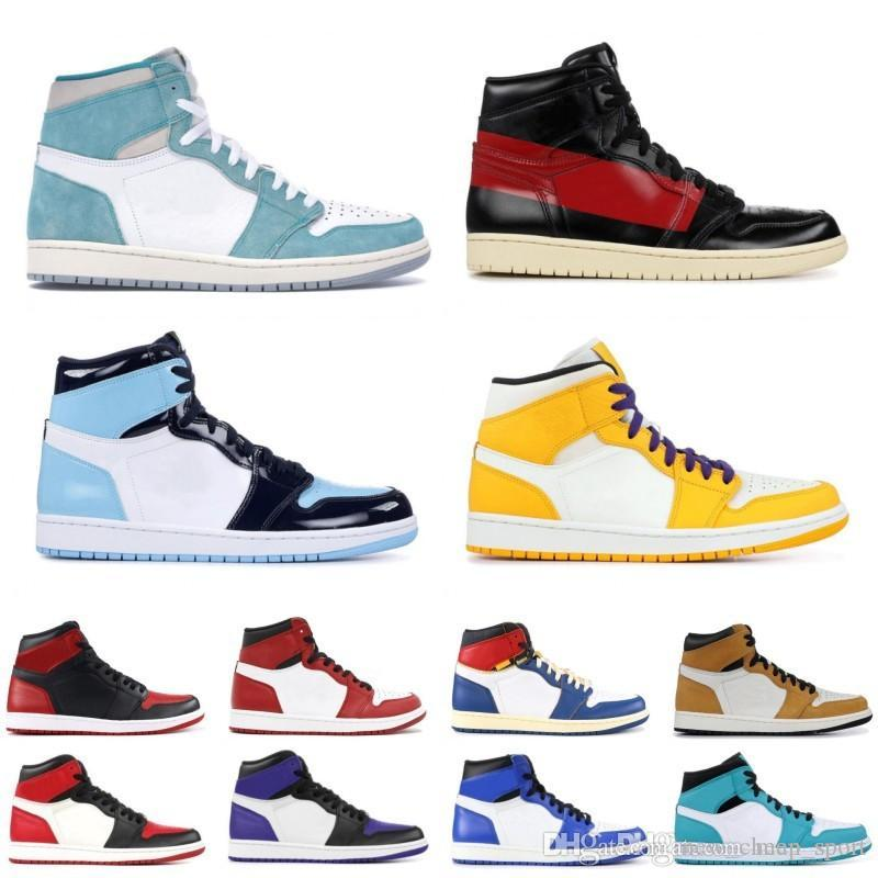 Barato 1 alta OG Banned toe Turbo Verde UNC 1s top 3 Mens tênis de basquete COUTURE GYM RED Novato do ano Sports Designer chaussures