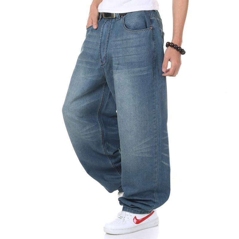 Compre Moda Para Hombre Hip Hop Baggy Jeans Estilo Harem Big Yards ... f686173c660