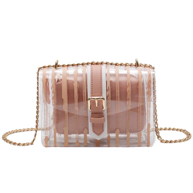 c3d8a75e1a56 Transparent Female Bag 2019 New Handbag Quality Pvc Stripe Transparent  Women Bags Sweet Jelly Bag Chain Shoulder Messenger Bag Satchel Laptop Bags  From ...