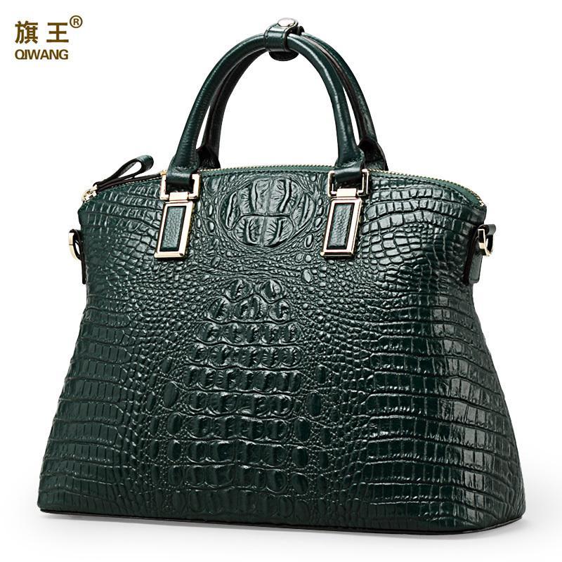 Gepäck & Taschen Qiwang Marke Frauen Tasche Krokodil Leder Top Griff Taschen Marke Frauen Designer Handtaschen 100% Echtem Leder Weibliche Kuh Tasche
