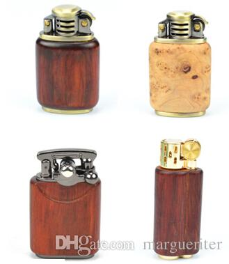 New Wooden Kerosene Oil Lighter Creative Personality Red Wood Tobacco Lighter Oil Smoking Lighters Smoke Accessories 10 Styles