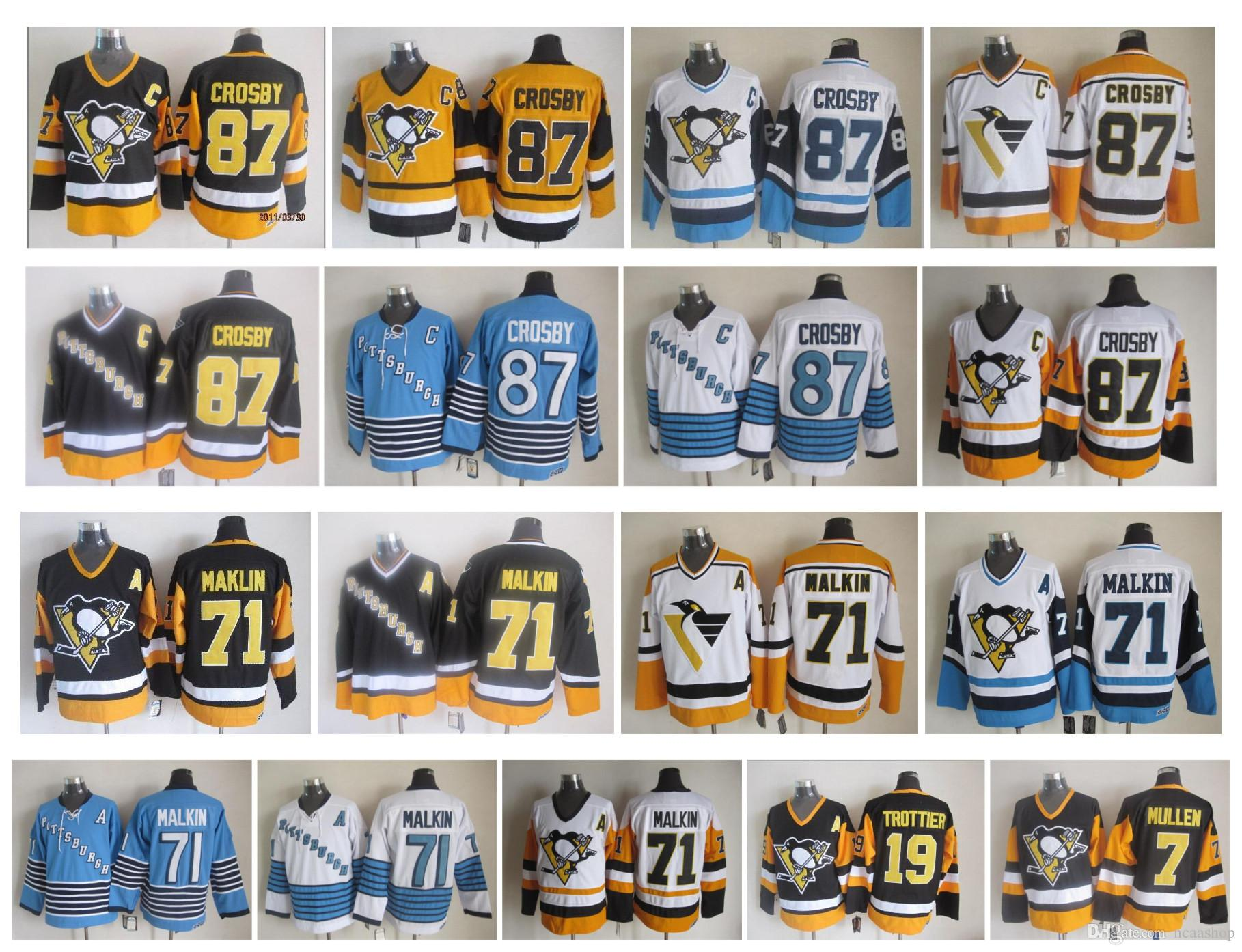 best service dcb53 be775 Retro Vintage NHL Pittsburgh Penguins Jersey 87 Sidney Crosby 71 Evgeni  Malkin 7 Joe Mullen 19 Bryan Trottier CCM Hockey Jersey Top Quality
