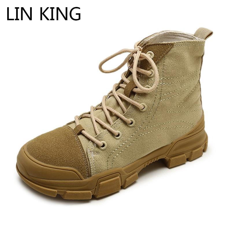 0faa69427035 LIN KING Vintage Women Short Boots Thick Sole Ladies Martin Boots ...