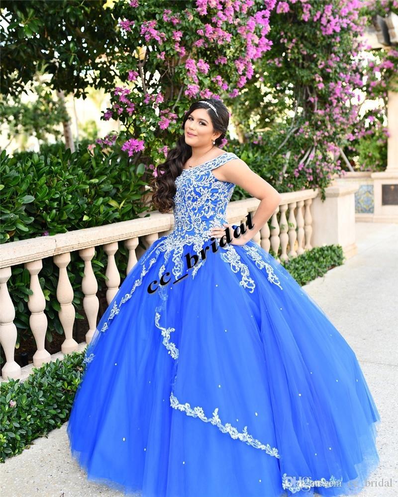 b2d1eed13 Compre Lujo Encaje Dulce 16 Vestidos De Quinceañera 2019 Nuevo Royal Blue  Puffy Tulle Más Tamaño Cumpleaños De La Mascarada Vestidos De Fiesta De  Baile ...