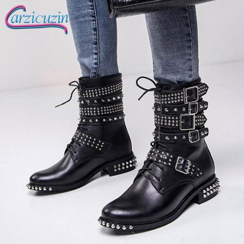 3bb0c553 Compre KemeKiss Marca Mujer Tacones Altos Botas Remache Cordones Zapatos De  Motocicleta Diseño De Mujer Botas Media Calza Zapatos De Moda Tamaño 34 39  A ...