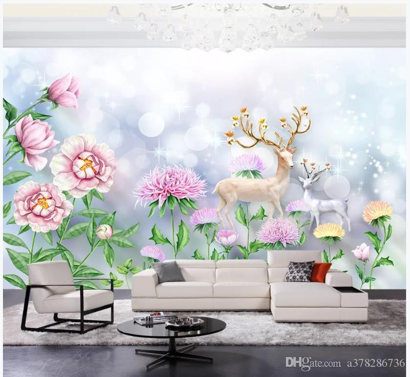 Customized 3d murals wallpaper photo wall paper Small fresh fashion simple hand drawn watercolor flowers cartoon deer wallpaper for walls 3d