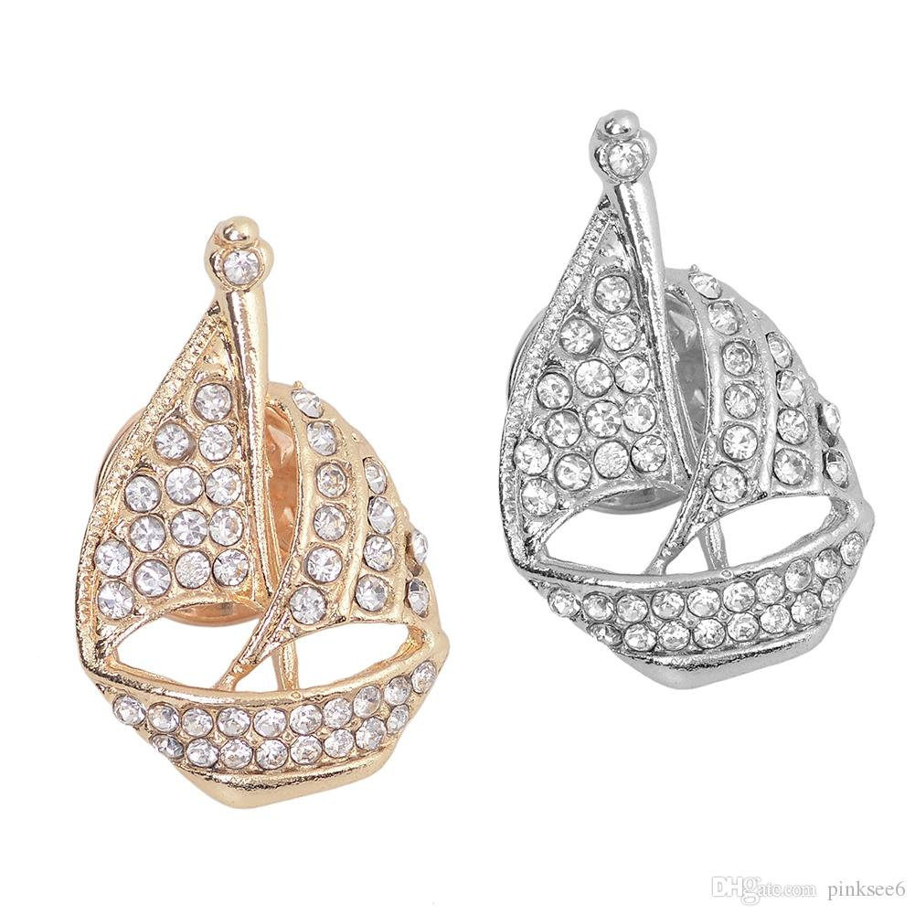 Korean Fashion Sailing Boat Rhinestone Brooch Pin Women Sailboat Pins and Brooches Coat Suit Accessories Gifts for Men