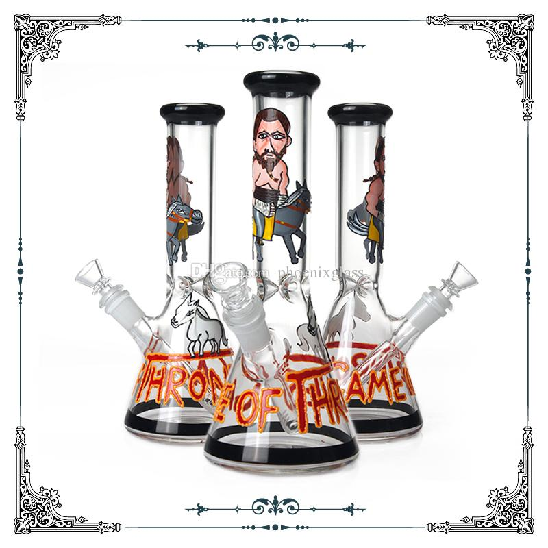 Hand drawn Art Bong 10 Inches Glass Smoking Water Pipe Tobacco Beaker Bongs Hookah Waterpipe High Quality Wholesale Free Shipping