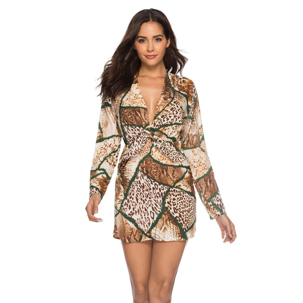Women Autumn Sexy Leopard Snake Print Striped Long Sleeve V Neck Dress  Ladies Casual Empire Mini Dresses Above Knee Length  1 Black Dress Women  Buy Party ... 94ac29b55