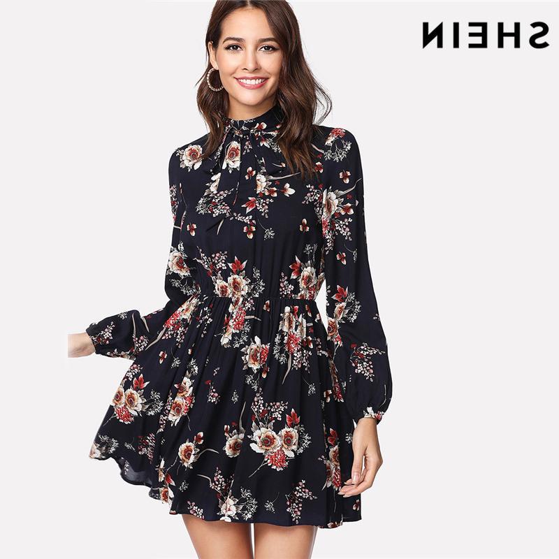 cbf927d2ab30 Shein Autumn Floral Women Dresses Multicolor Elegant Long Sleeve High Waist  A Line Chic Dress Ladies Tie Neck Dress Canada 2019 From Noah2010, ...