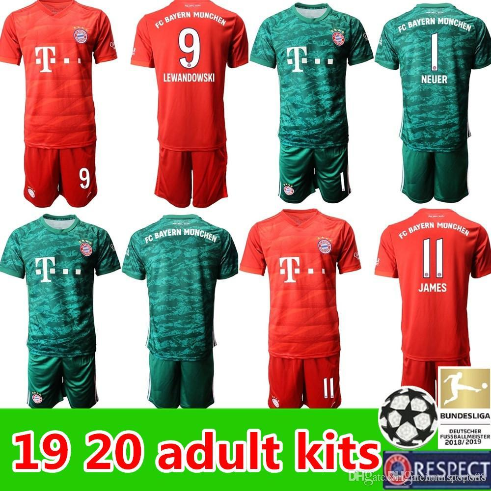 pretty nice ec306 2c9d0 new FC Bayern Munich adult kit soccer jerseys 19 20 Goalkeeper kits NEUER  JAMES LEWANDOWSKI MULLER ROBBEN GOTZE 2019 2020 Football uniforms