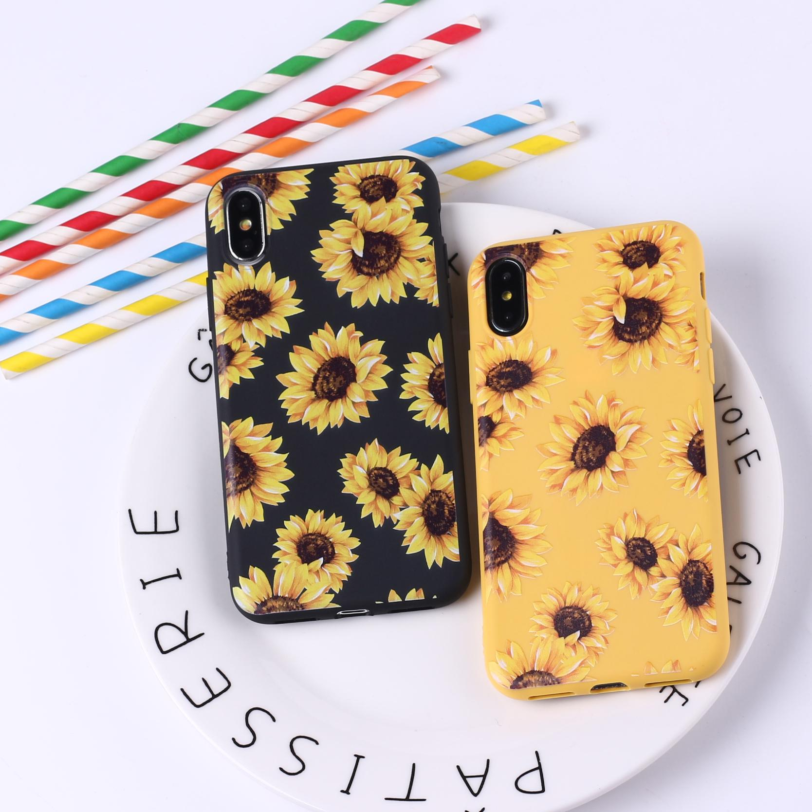 new arrival 0e643 12964 Cute Summer Daisy Sunflower Floral Flower Soft Silicone Candy Case Coque  For iPhone 6 6S 5S SE 8 8Plus X 7 7Plus X XR XS Max
