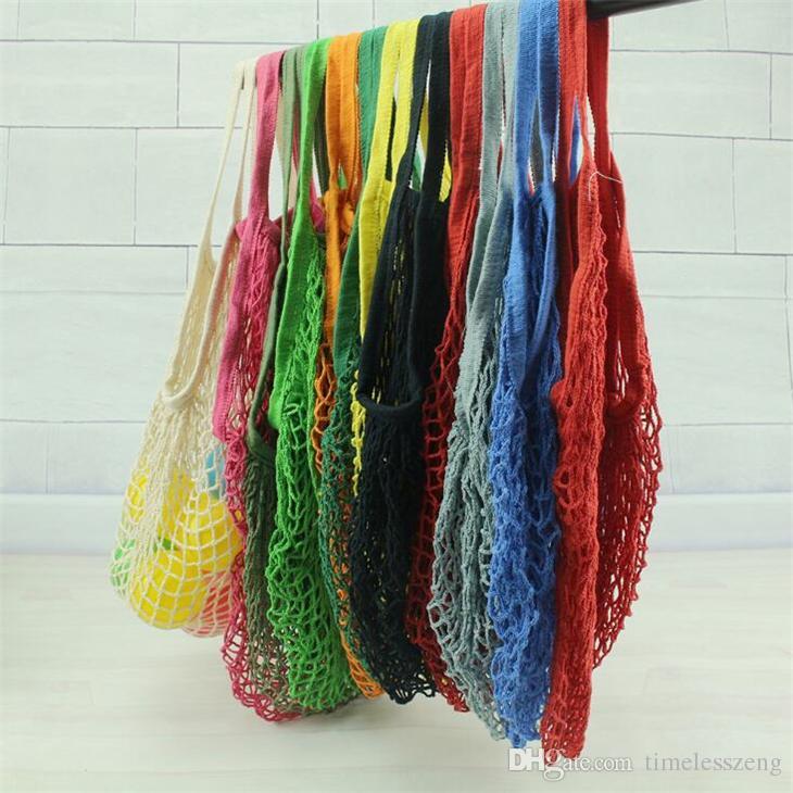 Kullanımlık Alışveriş Bakkal Çantası 14 Renk Büyük Boy Taşınabilir Shopper Tote Mesh Net Dokuma Pamuk Çanta Ev Saklama Torbaları