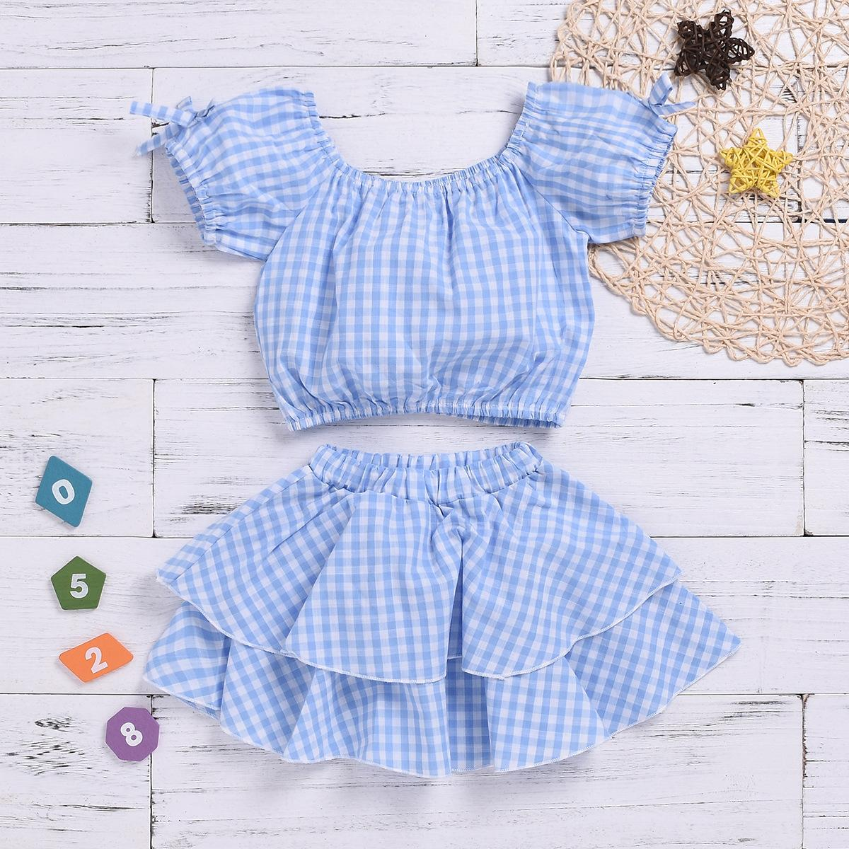 ee115388427 2019 Summer Style European And American Girls Plaid Skirt Two Piece ...
