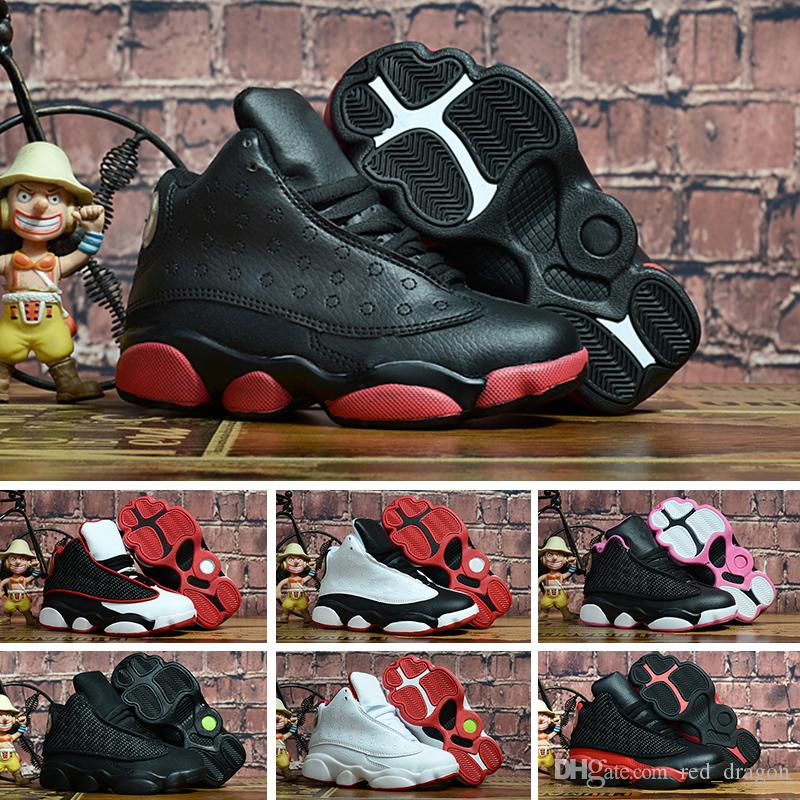 watch 3fa62 ae34c 13s Black Cats Toddler sneakers bred Flint Kids Basketball Shoes Infant 13  big boy & Girl Children Trainers