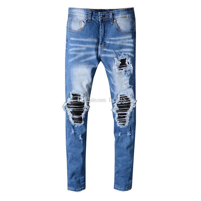 441488da4536 High Street Fashion Herren Jeans Blau Farbe Weiß Wash Zerstört Zerrissene  Jeans Für Männer Gebrochene Hosen Marke Designer Hip Hop Dünne Robin ...