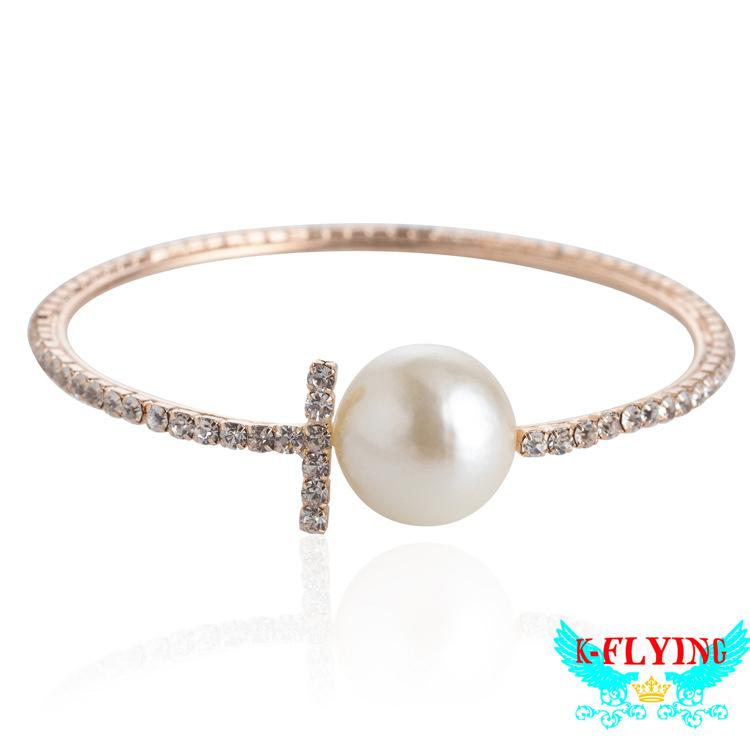 2019 new Silver Gold Rose Gold Women Austria Crystal Pearl Bangles Open Cuff Bracelets Rings Jewelry