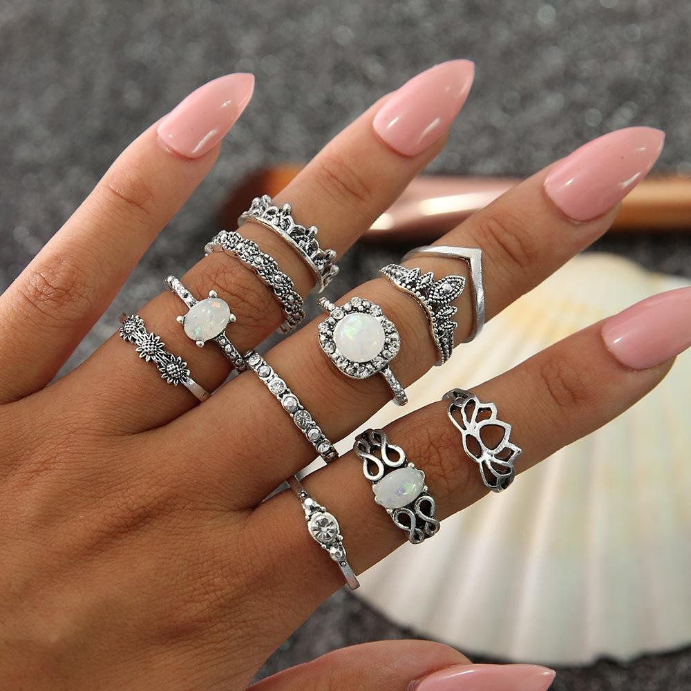 7bb317e6bc6 11 Pcs/Lot boho ring set silver white gemstone wedding ring set Retro  vintage hollow Bohemia style mix size Alloy jewelry rings wholesale