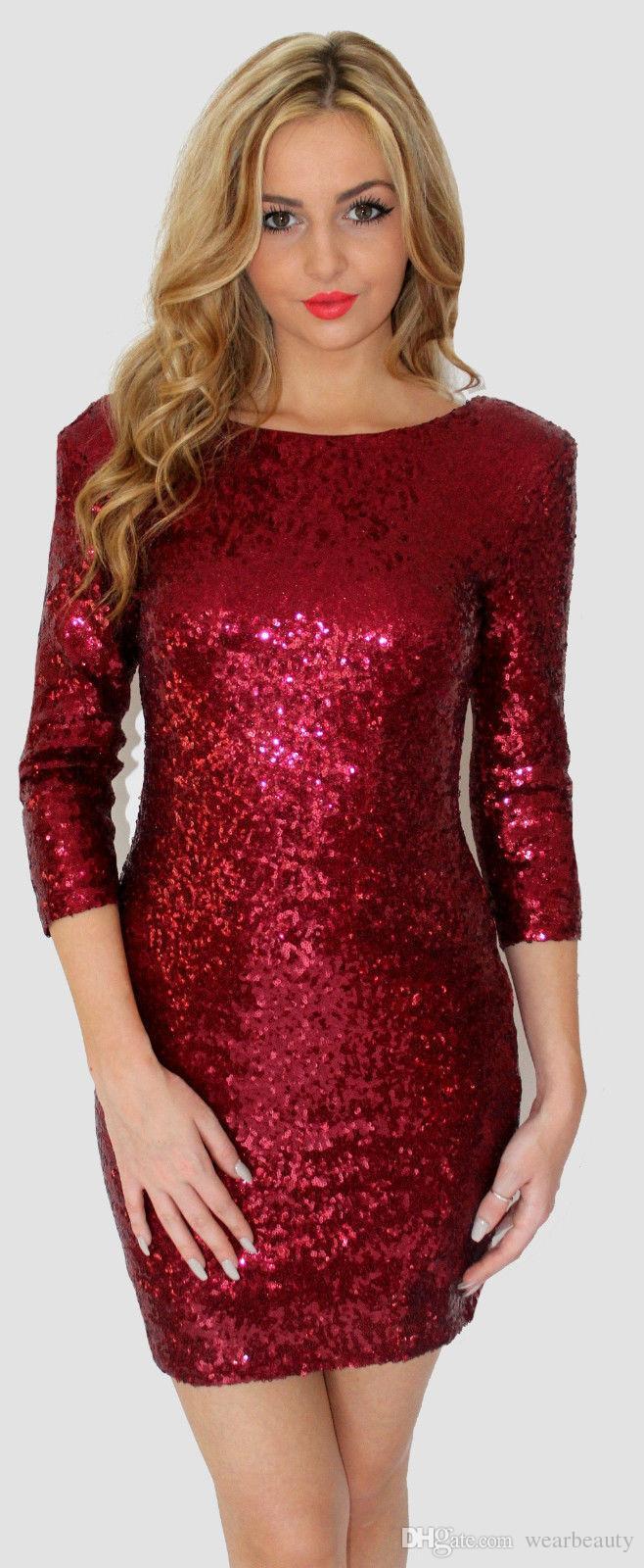 c53d5c73b451 Acquista Vestito Rosso Scintillante Da Donna Vestito Da Club Di Design Con  Paillettes Verde Rosso Vestito Da Sera In Oro Nero Spedizione Gratuita A   9.05 ...