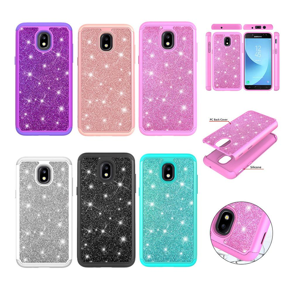 reputable site 78fae 861cd Samsung Galaxy J7 2018 Case USA Version Glitter 2 in 1 Heavy Duty  Protective Phone Cover For Galaxy J7 2018 (Not fit J7 Pro 2017)
