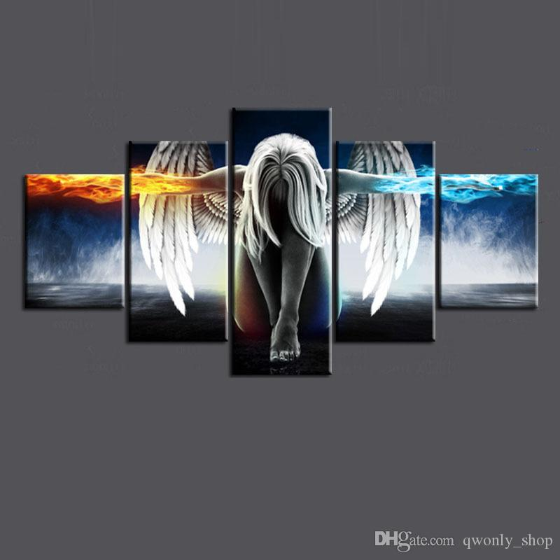 Oil Painting 5 Pieces/set Angel Demons Wing Printed Canvas Anime Room Printing Wall Art Paint Decoration Decorative Craft Picture Home Décor