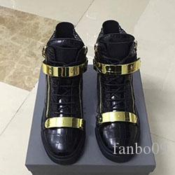HOT WOMEN TOP QUALITY BLACK White RUNNING SHOES ZIP SNEAKERS MEN ZIP High help Zipper Shoes Metal buckle zipper Couple Shoes 35-46 s0915