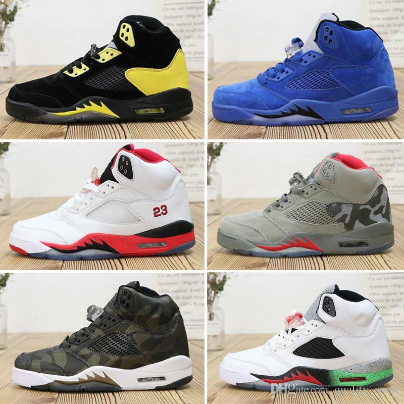 Nike Air Jordan 5 Alta qualità 5 5s Black Metallic 3M Reflect Black Grape Oreo Scarpe da basket Uomo 5s Red Suede CDP White Sneakers in cemento