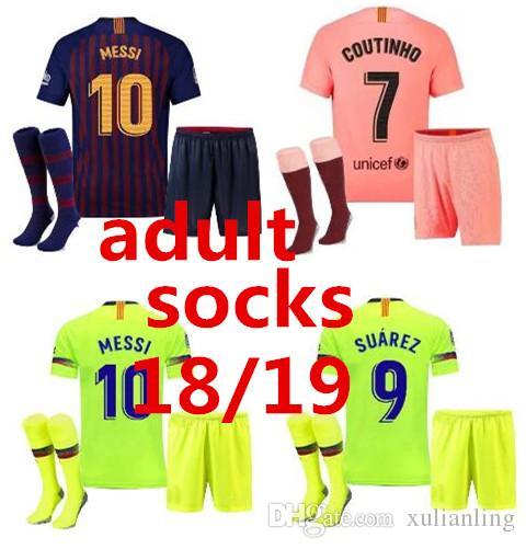 watch dd357 cb996 new 2019 2020 Barcelona soccer jersey socks SUAREZ O.DEMBELE adult third  3RD pink PIQUE Messi ARTHUR adult Football shirt kit men