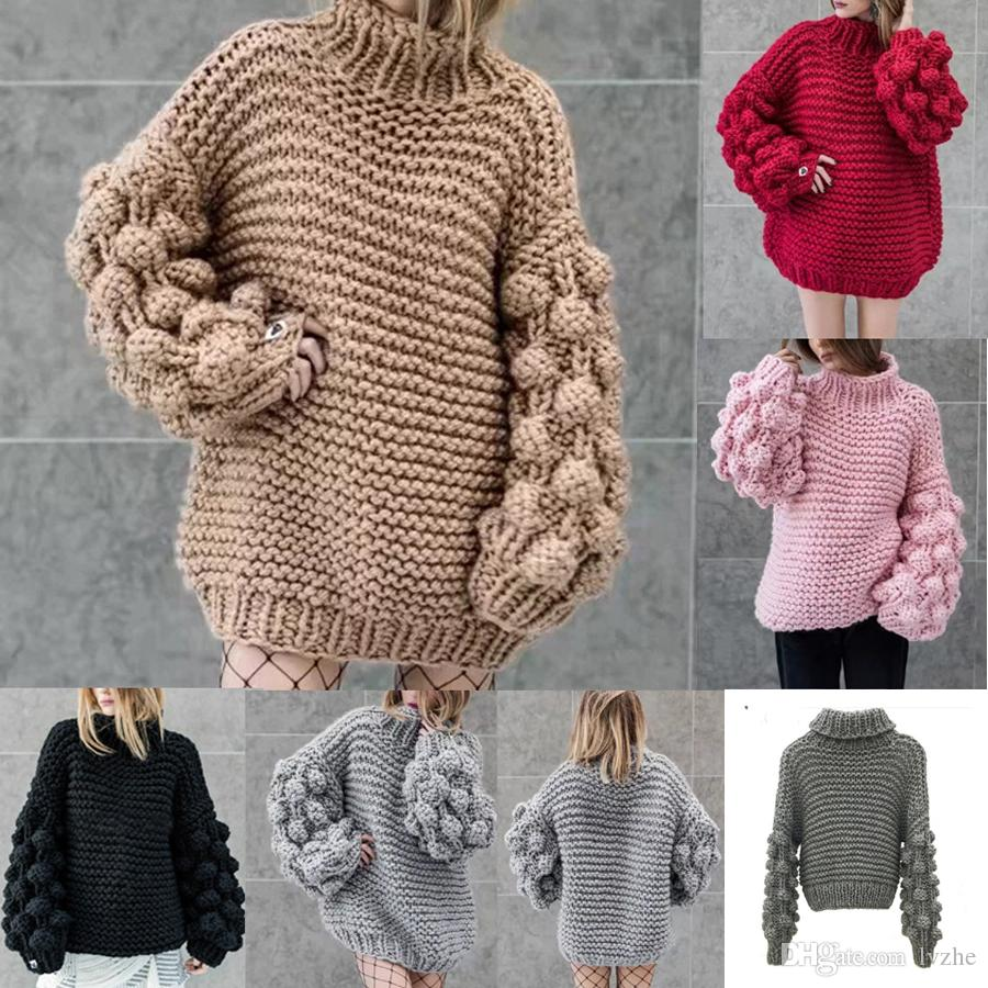 2019 2019 New Fashion Womens Ladies Winter Bobble Bubble Sleeve Chunky  Knitted Sweater Jumper Pullover Tops From Lvzhe 3b625a5028