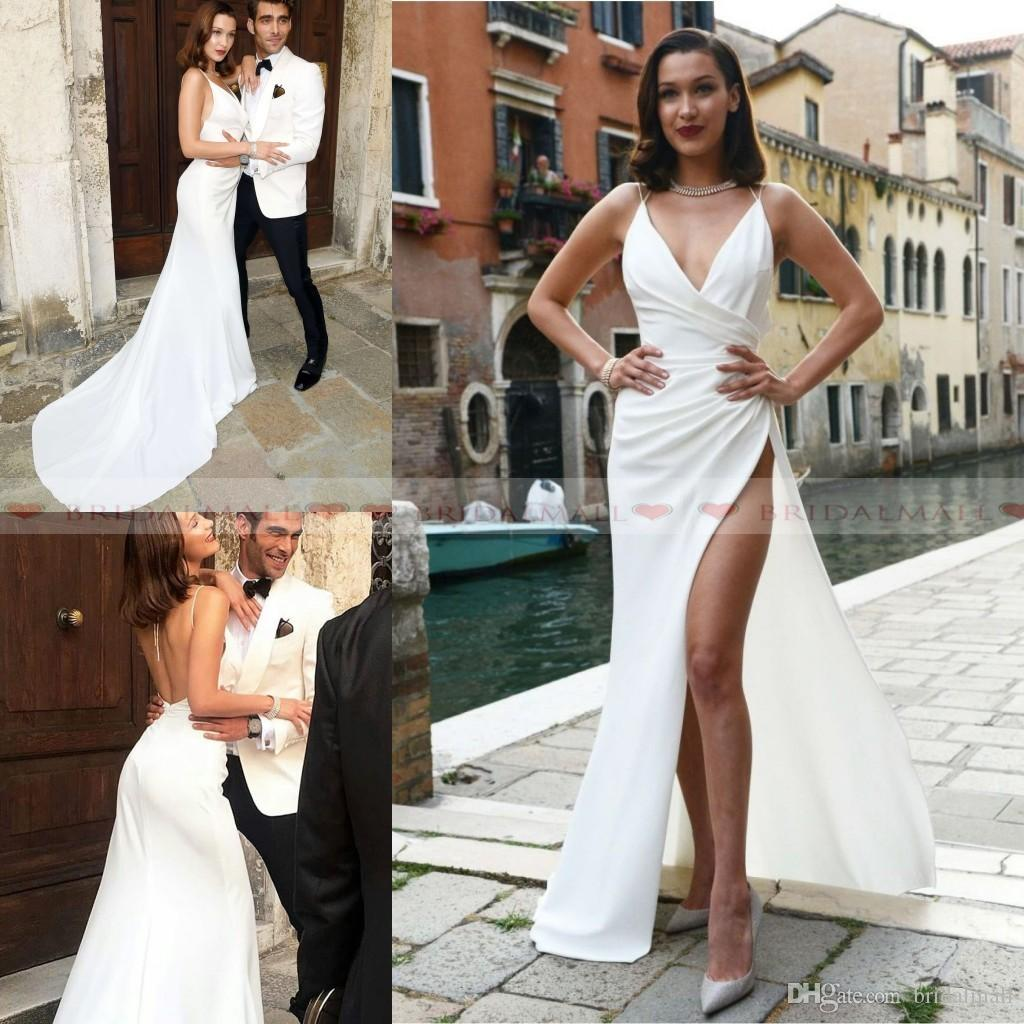 894ad5cfb2a 2019 Spaghetti Strap Pleats Satin Mermaid Prom Dresses Long Leg Side Split  Formal Party Gowns Sexy Backless Evening Dress Celebrity Cocktail Greek  Style ...