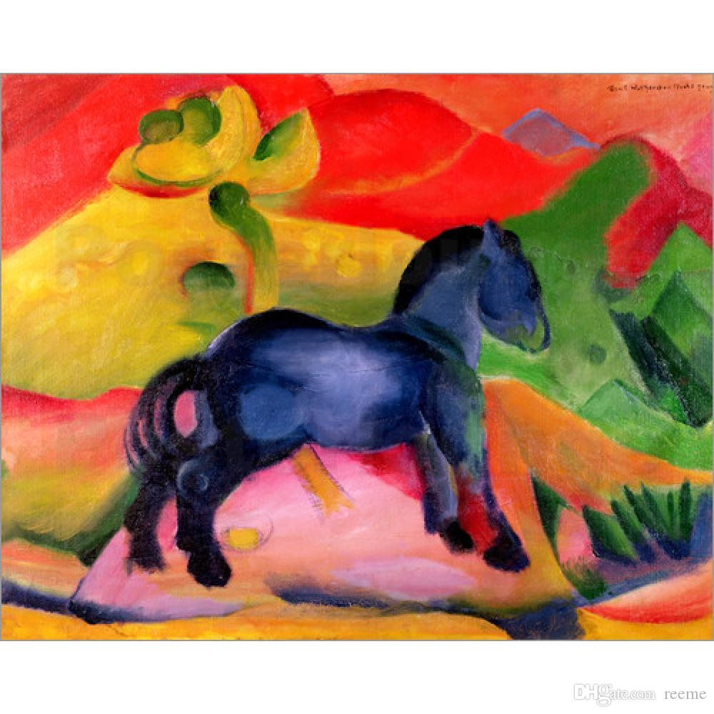 Art Gift Franz Marc pinturas al óleo abstractas Little Blue Horse decoración de la pared pintada a mano