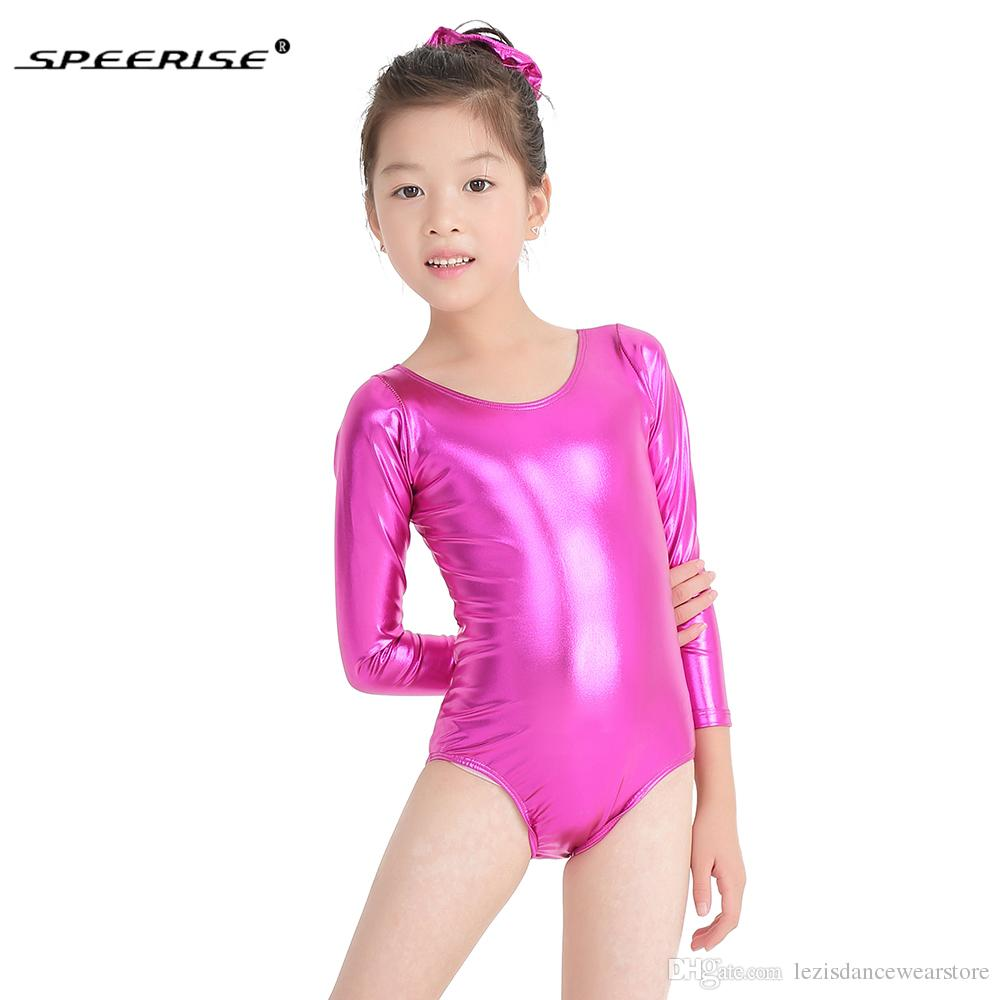 447fb95a7 2019 Hotsale Ballet Skate Leotards For Girls Metallic Gymnastics ...