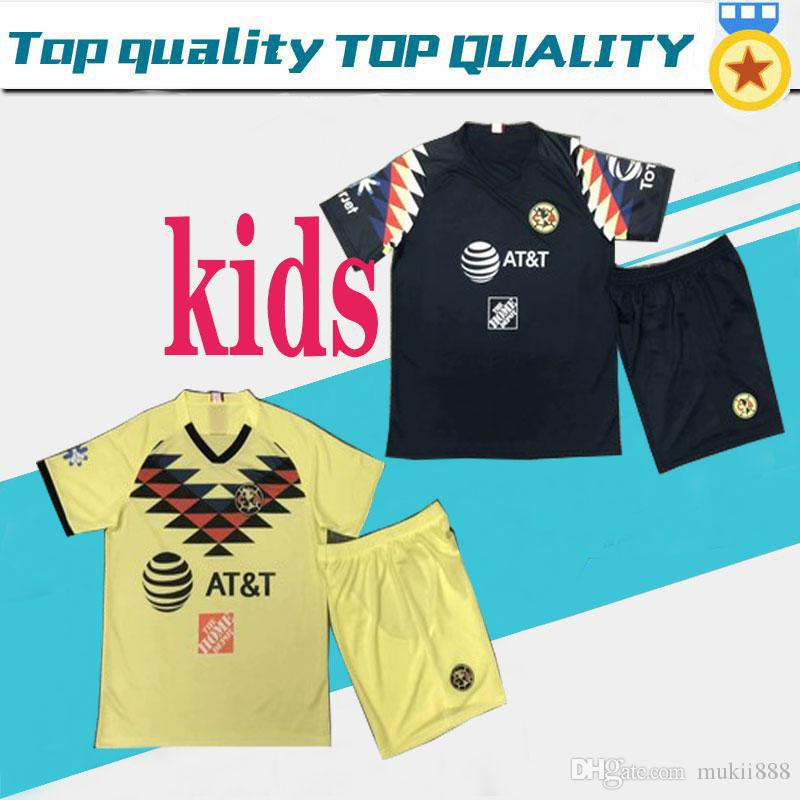2019 20 Mexico American kids Club Soccer Jerseys DOMINGUEZ Home Yellow Away Black Football Shirts Mexican MENEZ P.AGUILAR Camisetas de fú