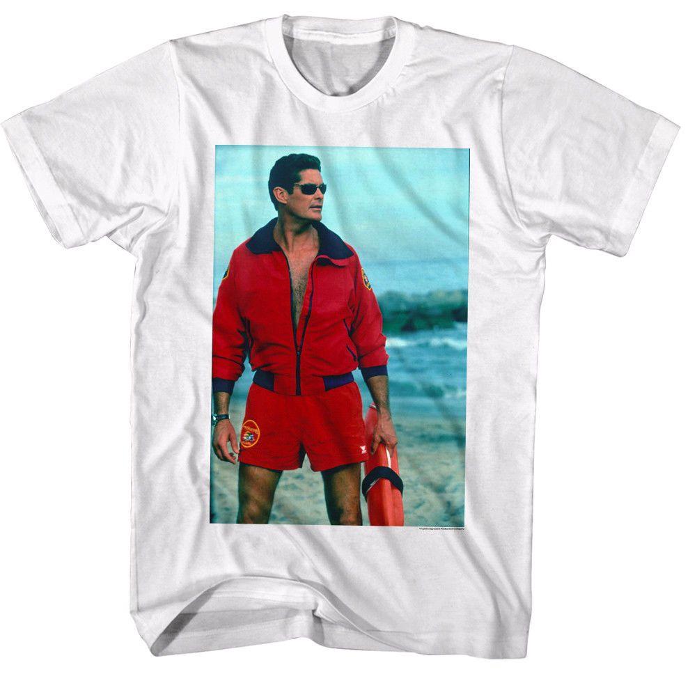 018dbd411b3 Baywatch David Hasselhoff Mitch Buchannon Men s T Shirt TV LA Beach ...