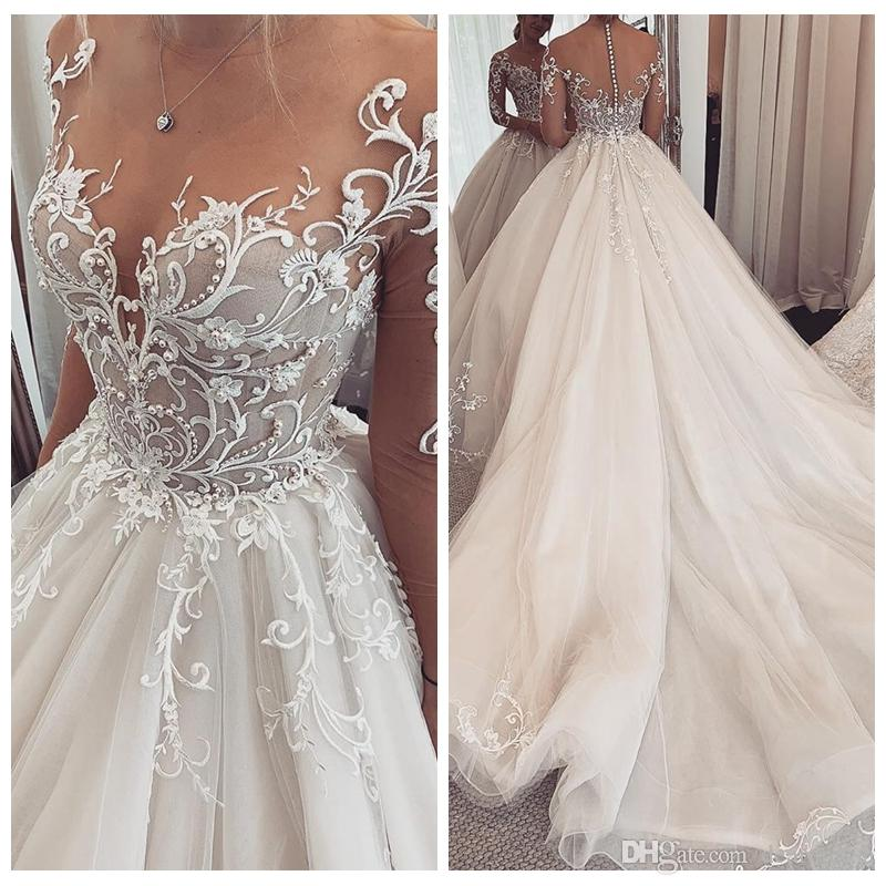 Sheer Long Sleeves Lace Appliques A-Line Wedding Dresses Beaded Pearls 2019 Modest Customized Long Bridal Gowns Beautiful Robe De Marriage