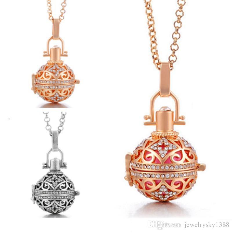18k Rose Gold Bead Cages Pendant Necklaces Hollow Crystal Diffuser Locket Aromatherapy Essential Oil Necklace For Pregnant Women