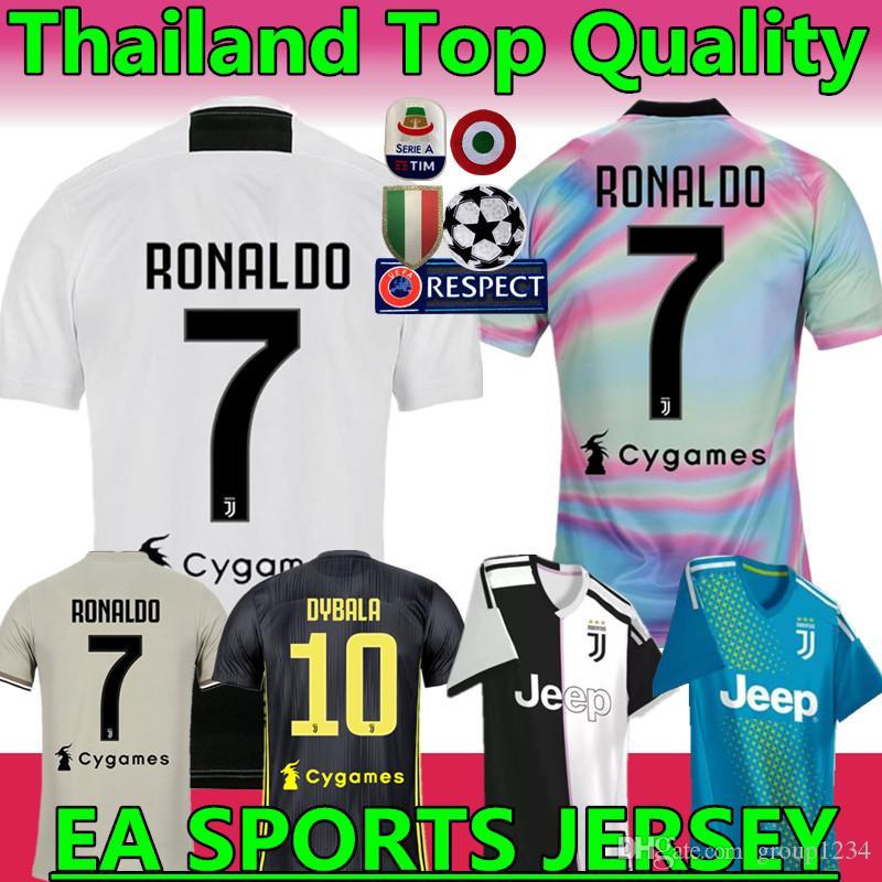 cddd947c3f Nova 2019   7 RONALDO JUVENTUS camisa de futebol 18 19 JUVE casa terceiro  Kit homens mulher   10 DYBALA camisa de futebol MANDZUKIC top qualidade  uniforme ...