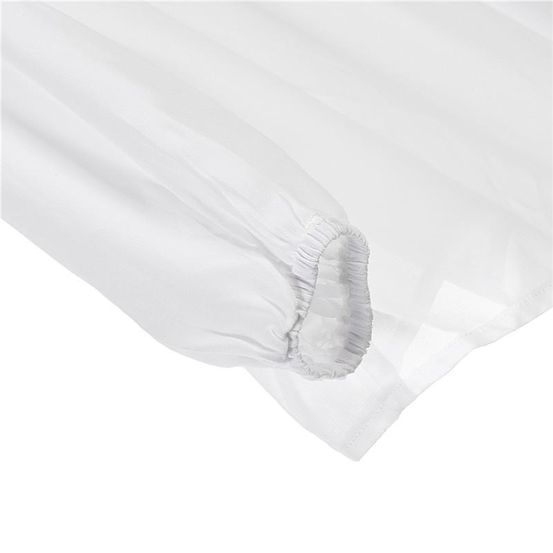 Bianco donne eleganti camicette camicie di moda primavera-estate 2018 Nuovo Perle Maglie a manica lunga con scollo a V allentato OL abbigliamento femminile