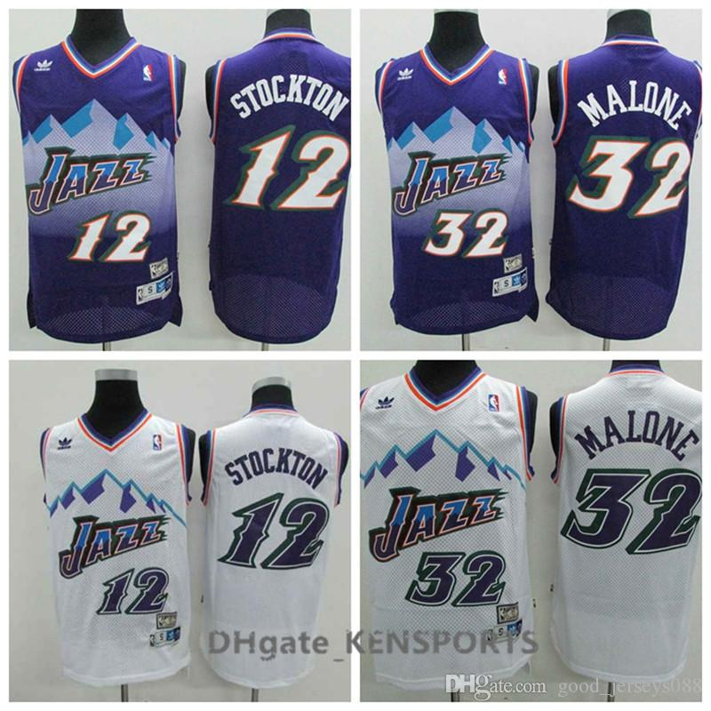 Hot Sale Retro Men Utah Basketball Jersey 12 John Stockton 32 Malone ... 8b1905c7f