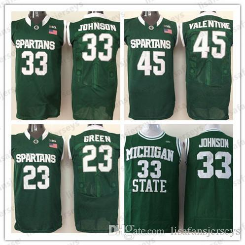 huge discount 45bdb 82aee NCAA Michigan State Spartans Basketball Jerseys 33 Johnson 23 Green 45  Valentine Stitched College Basketball Hot Sale Jersey