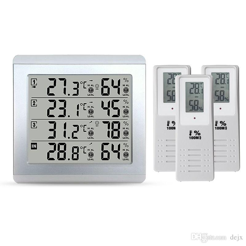 Freeshipping Weather Station Thermometer C/F Value Display Alarm Temperature Meter Station Tester With 3 Outdoor Indoor Wireless Senor