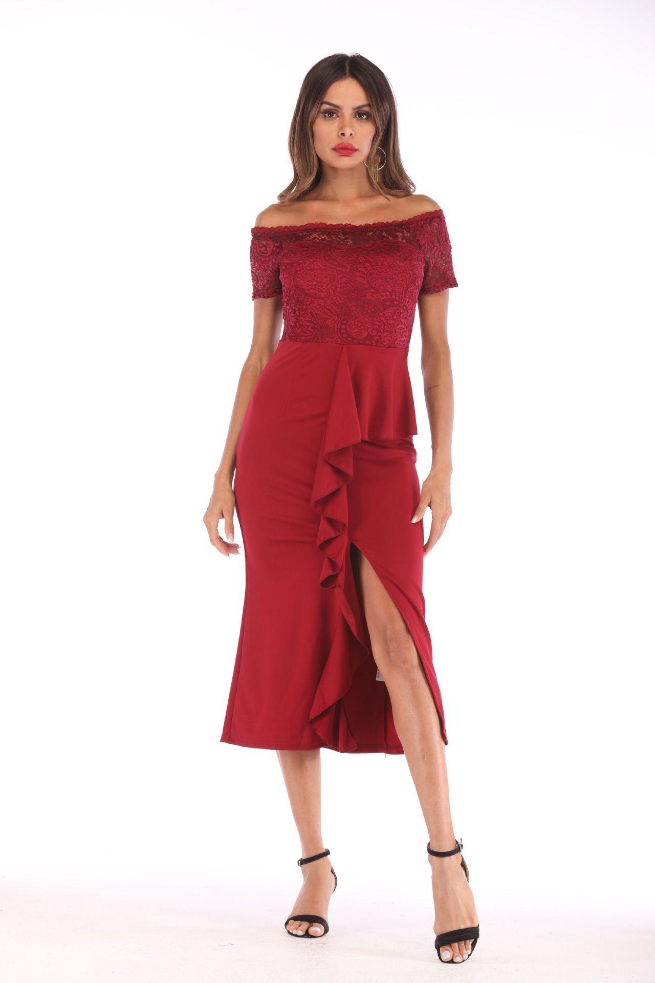 438e20e521e5 Acquista Vestito Sexy Da Donna Con Piega In Jersey Di Pizzo E Vestito Da  Cerimonia A  40.21 Dal Sanfhy