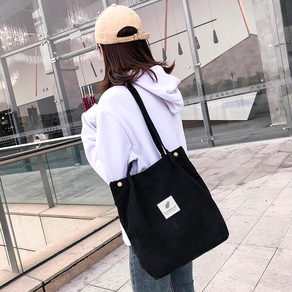 2019 Tops New Fashion Casual Fashion Women Corduroy Pure Color Shoulder Bag Satchel Tote Hand Bag Travel
