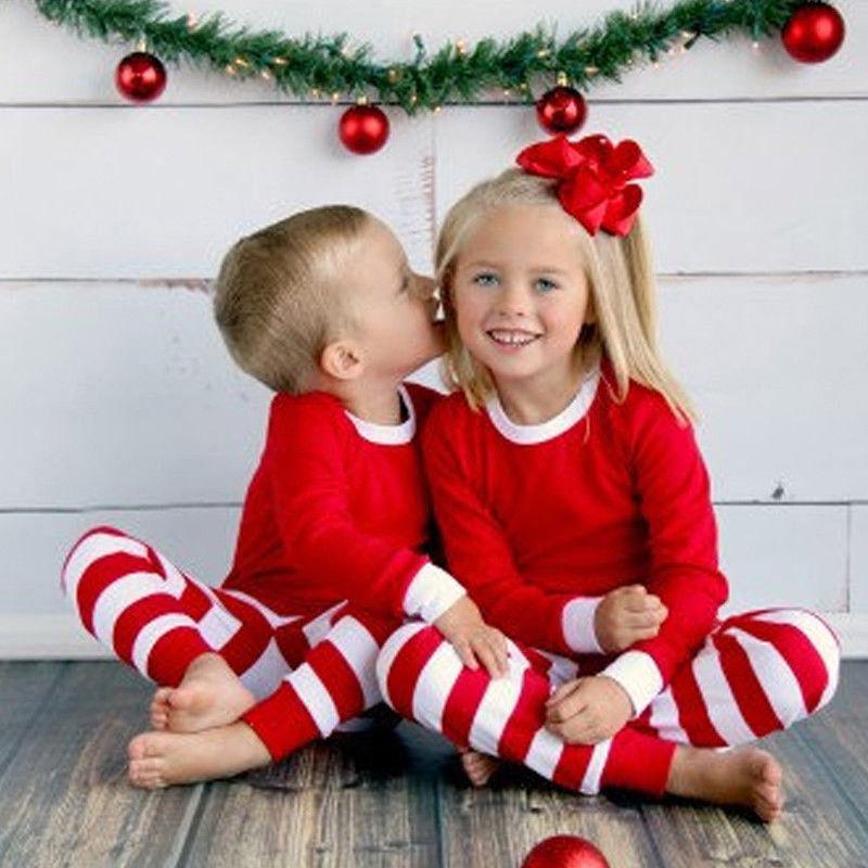Família Matching Vermelho Branco Listrado Natal Pijama PJs Define Crianças Xmas Pijamas Roupa de Noite Para Ano Novo