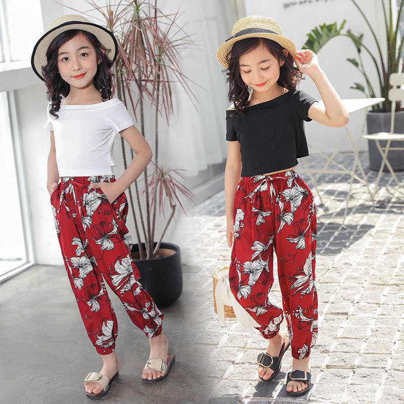 ae0e1ceddb Girls floral wide-leg pants suit 2019 new big children's thin section  Korean fashion beach pants two sets of tide