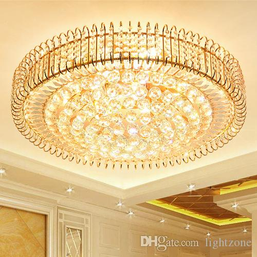 New modern crystal chandeliers lightings gold round American chandelier living room bedroom LED ceiling lamps European noble crystal lights