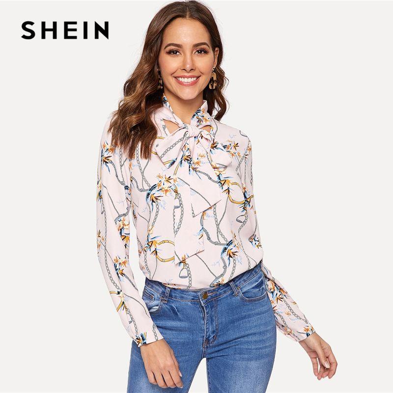 84301a80 SHEIN Estampado de cadena blanca corbata atada blusa para mujer 2019 Summer  Stand Collar Office Lady Highstreet blusas y blusas de manga larga