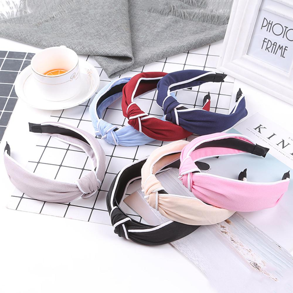 Women Elastic tie Hair hoop White edging Headbands Fashion Solid color matching Hair Accessories