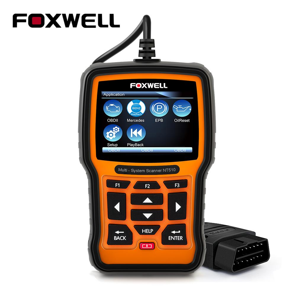 Foxwell NT510 ODB OBD2 Scanner for Mercedes Benz Car Professional  Diagnostic Scanner Oil Service Reset Air Suspension Reset Tool